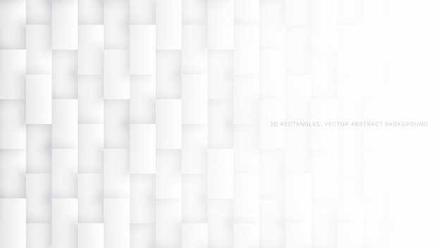 3d長方形パターンシンプルな白の抽象的な背景
