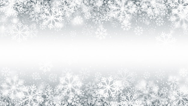 Зимний сезон падающий снег граница 3d-эффект