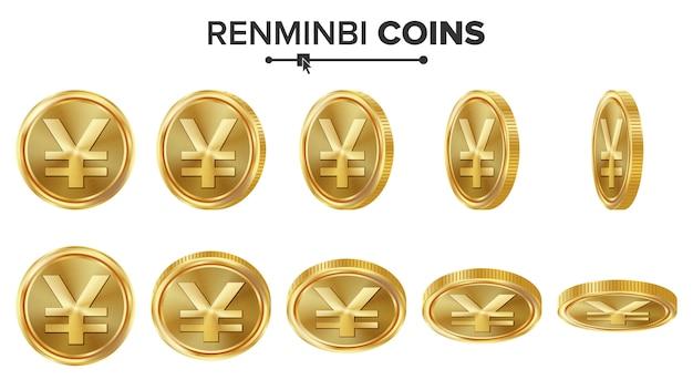 人民元3dゴールドコイン