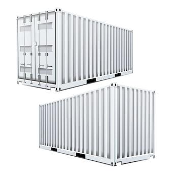 白い貨物コンテナ3d