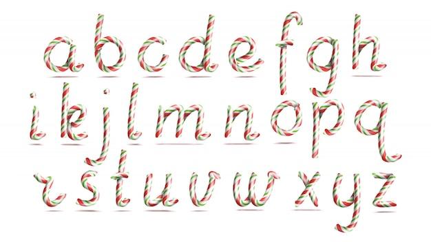 3dリアルなキャンディ・ケーンのアルファベット