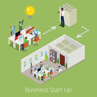 Изометрические бизнес запуск. плоские 3d творческая команда и успешный бизнес.