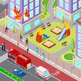 Пожарные тушат пожар в доме изометрические города. пожарный помогает пострадавшей женщине. 3d плоская иллюстрация