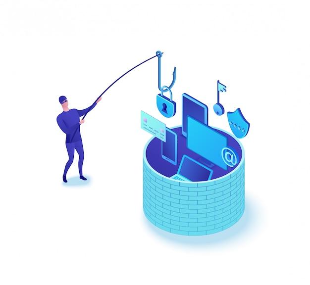Концепция фишинг-атаки, кража данных 3d изометрические векторная иллюстрация, человек, рыбалка информации