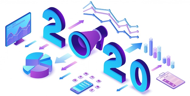 Год маркетинговый план, социальные медиа изометрическая 3d