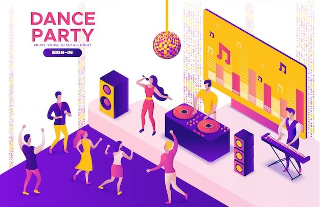 Вечеринка изометрическая, диджей играет музыка, 3d