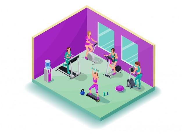 Изометрическая 3d иллюстрации фитнес кардио тренировки
