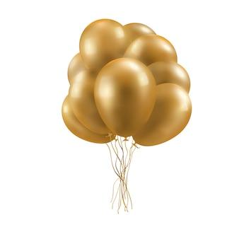 Реалистичные 3d глянцевые золотые шарики