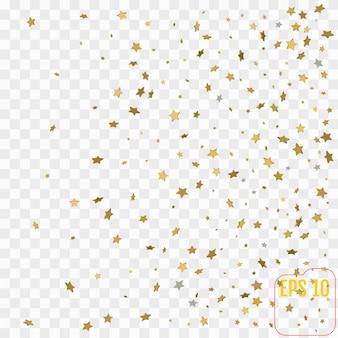 3d золотые звезды. празднование конфетти, падение золотого абстрактного украшения для вечеринки