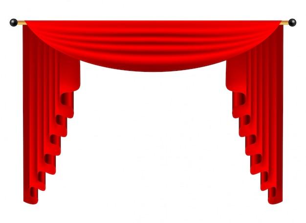 3d красный роскошный шелковый занавес, реалистичный декор интерьера бархат