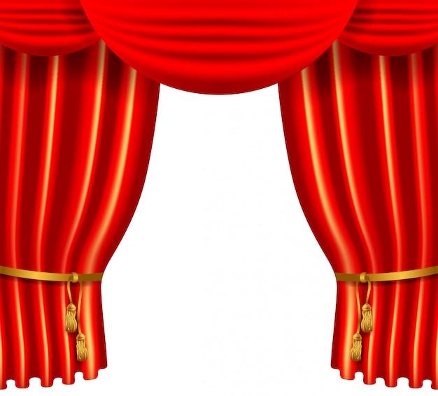 3d赤の高級シルクのカーテン、リアルな室内装飾ベルベット