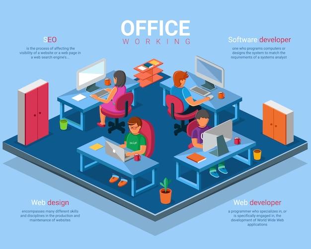 Вектор плоский 3d изометрические бизнес офис концепция иллюстрации