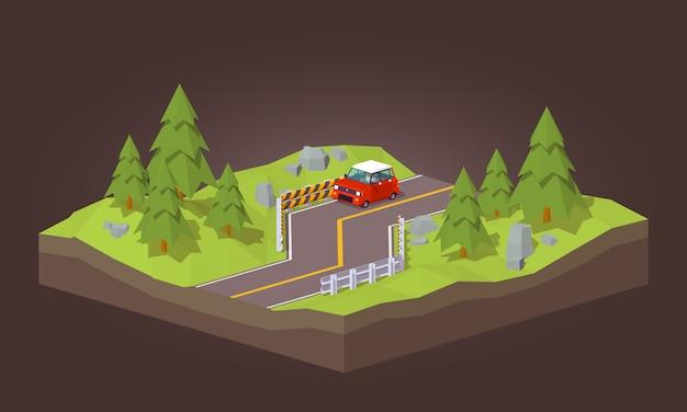 3d низкополигональная красная машина едет по дороге