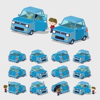 ブルーコンパクト3dローポリ車