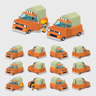 オレンジの3d低ポリピックアップトラック