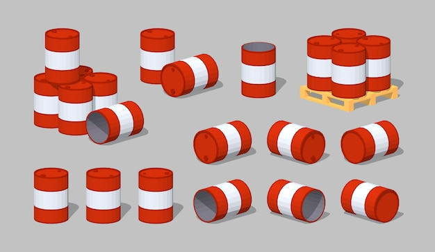 3d низкополигональные металлические бочки