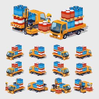 3d низкополигональный оранжевый грузовик, полный бочек