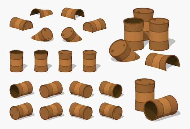 Старые ржавые 3d низкополигональные изометрические бочки