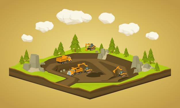 3d低ポリ等尺性採石場発掘サイト