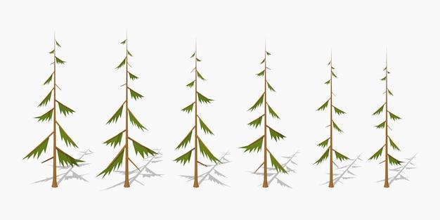 ぼろぼろの3d低ポリ等尺性松の木