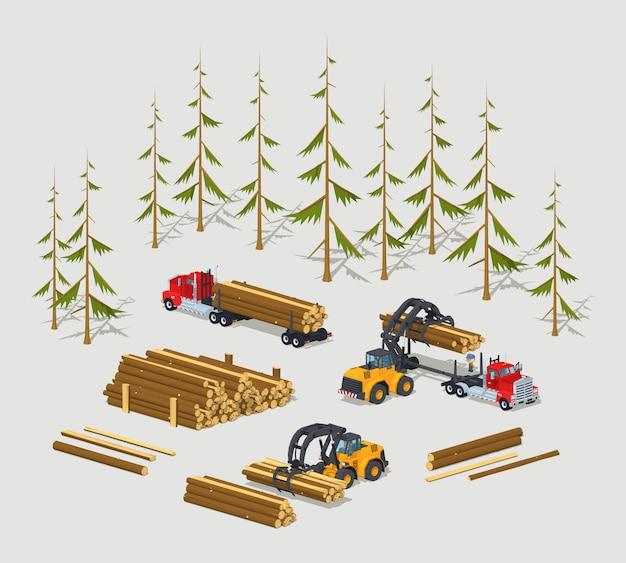 3d低ポリ等尺性木材ストック