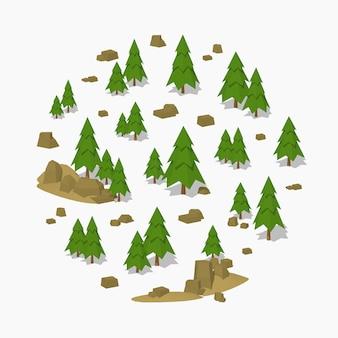 3d低ポリ等尺性松の木の森
