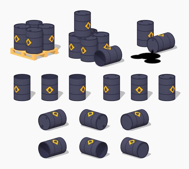 Черные металлические 3d низкополигональные изометрические бочки с маслом