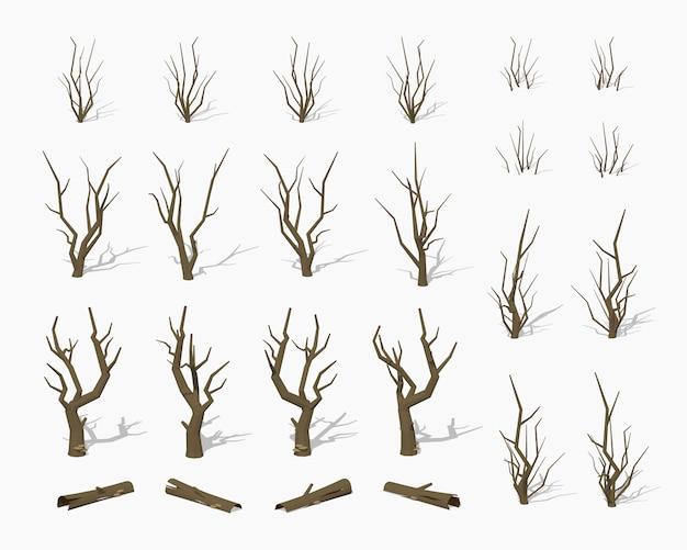 Сушеные мертвые 3d низкополигональные изометрические деревья