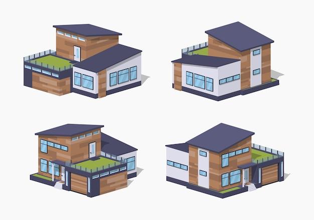 現代的な3d低ポリ等尺性住宅