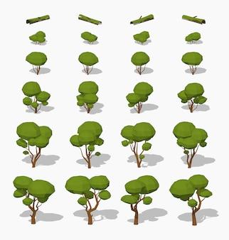 3d低ポリ等尺性の緑の木々