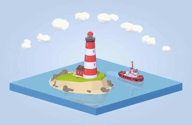 3d低ポリ等尺性灯台とタグボート