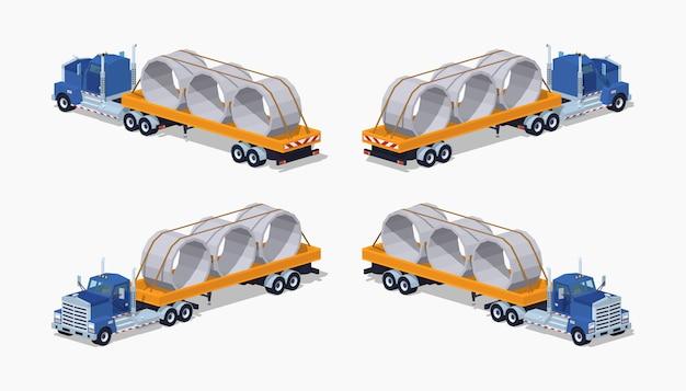 3d低ポリ等尺性大型トラック