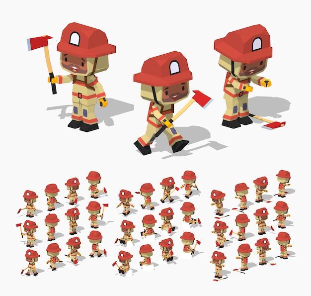 3d低ポリ等尺性消防士