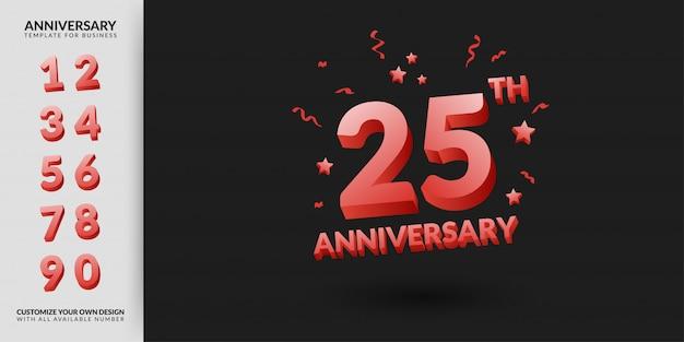 Набор шаблонов счастливой годовщины с номерами в стиле 3d текста