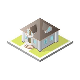 等尺性の家3dコテージ
