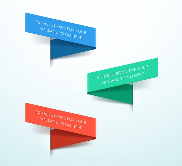 Лента этикетки 3d красочный набор из трех вектор