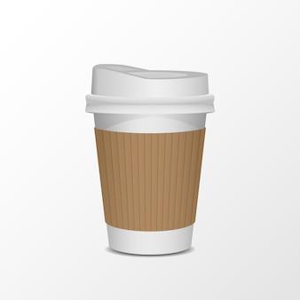 3d чистый лист бумаги чашка кофе реалистичный набор на белом фоне