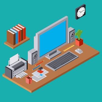 Компьютер на рабочем месте плоские 3d изометрические вектор концепции иллюстрации