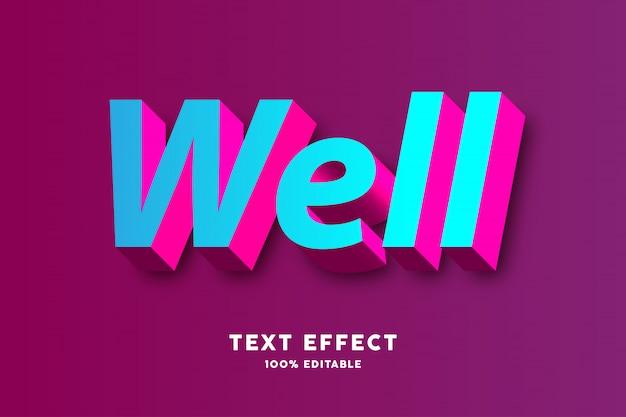 3d свежий синий и розовый текстовый эффект