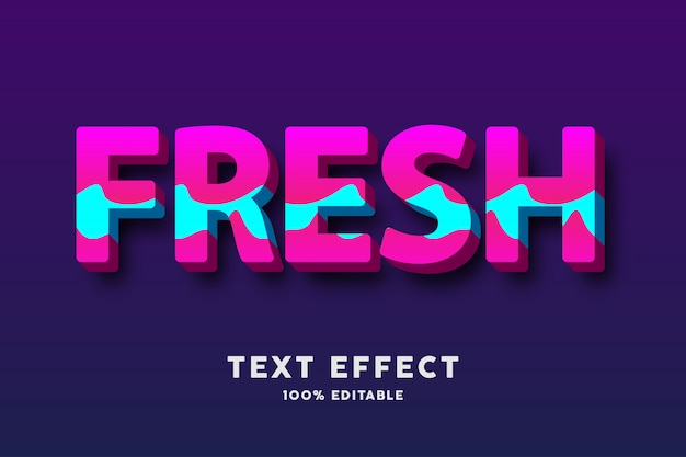 3d текст смелый свежий розовый и голубой волнистый стиль, эффект текста