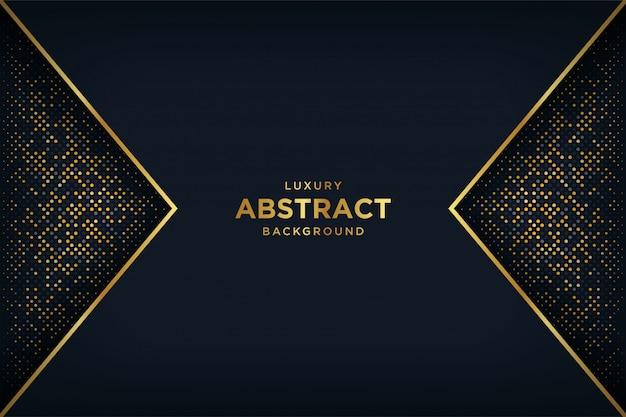 Роскошный черный фон с комбинацией светящихся золотых точек в стиле 3d.