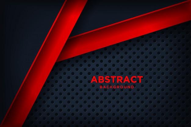 3dオーバーラップレイヤー効果を備えたモダンな赤黒の背景。