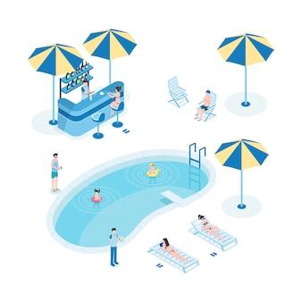 Летний отдых возле бассейна изометрические векторные иллюстрации. туристы с детьми, сотрудники отеля 3d герои мультфильмов. маленькие дети плавают, женщины загорают, официант держит поднос с коктейлями