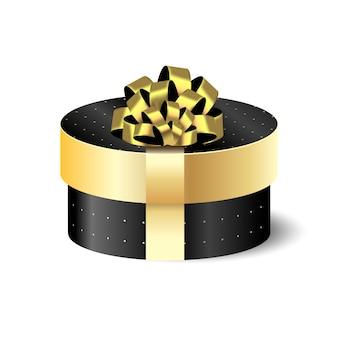 ゴールドの丸い梱包箱3dブラック