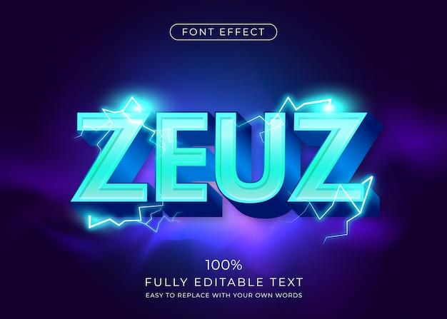3d текстовый эффект с молниями. редактируемый стиль шрифта