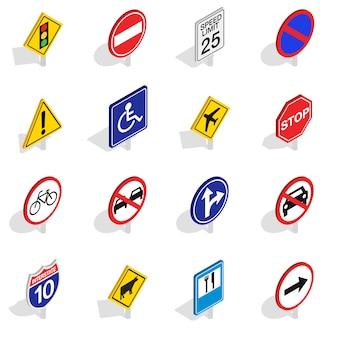 道路標識のアイコンは、白い背景で隔離の等角投影の3dスタイルに設定