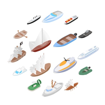 Набор иконок кораблей и лодок, изометрическая 3d стиль