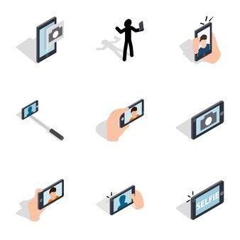 Создание селфи, набор иконок для фото, изометрическая 3d стиль