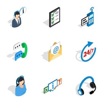 Весь день иконки поддержки клиентов, изометрическая 3d стиль