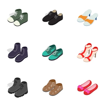 Модные иконки обуви, изометрическая 3d стиль